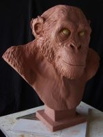 Chimpanzee: Finished sculpture by revenant-99
