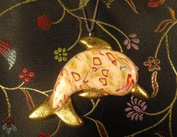 Polymer Clay dolphin pendant detail by LaFataRosa