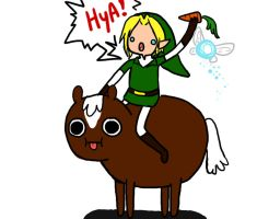 Link riding Epona? by girloveslink