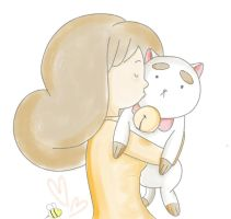 Bee kissing Puppycat by Izachian