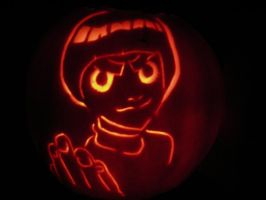 Rock Lee Pumpkin lit up by Leon-Kastello