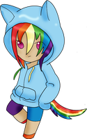 RainbowDash in a Hoodie by Shiny-Leigh