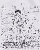 Superman-dramatic landing- ink scribblie by tarunbanned