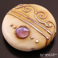 Metallic Scrolls on Ivory with Purple Jewel by booga119