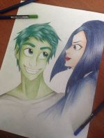 Raven and Beast Boy - Teen Titans  by Enn-Rosswen