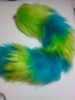 Cyan and Neon Green Striped Tail by GetFursonal