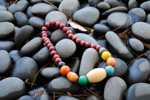 Vintage Wood Bead Necklace Multicolor by thumbelyna