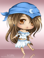 Com: Sketch Colored Chibi for Ahkilah by CuBur