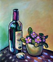 Violets and a Bottle of Wine by Art-deWhill