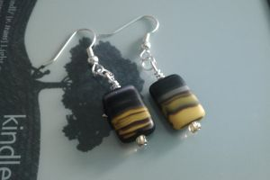 Black and Yellow Block Earings by thepapercraftcouple
