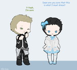 Day 15: In a different clothing style (Destiel) by Nile-kun