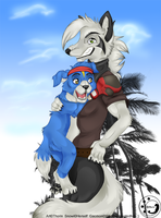 Snowi and Gaomon by ThorinFrostclaw