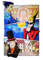 Phoenix wright, Sissel and professor Layton by AlexRoivas