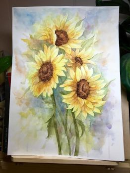 Sunflowers Watercolor by teatimetomorrow