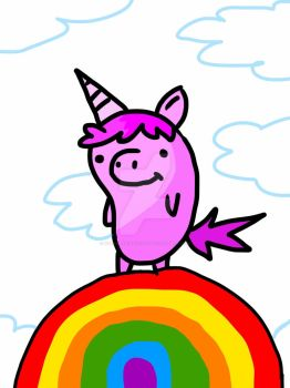 PINK FLUFFY UNICORN DANCING ON RAINBOWS by TheCaptainGloves