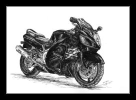 Suzuki Hayabusa - pen and ink by czajka
