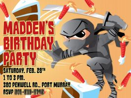 Madden's Ninja Birthday Party Invitation by RobKramer