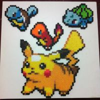 1st gen starters in Perler Beads by dishwall