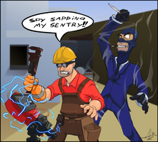 Spy Sapping my sentry by Ninjaco