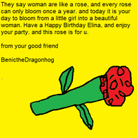 A card and rose for Elina by Benicthedragonhog
