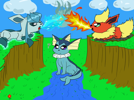 Flareon and Glaceon Stand off! by ITS-ALL-NTG