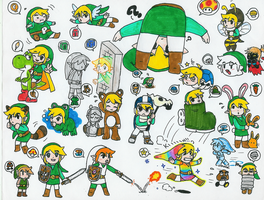 Link with Super Mario powerups by Hyliaman