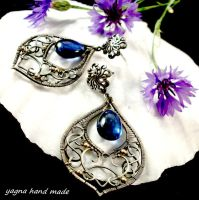 Silver earrings with cyanite briolettes by yagnahandmade