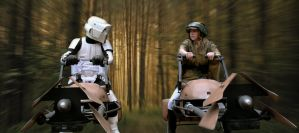 Endor Duel on Speeders by JohnnyHavoc
