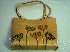 Lotus seed pod leather tote bag by izasartshop