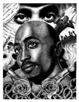 Tupac stipple dots Pen and Ink by DragonReverie76
