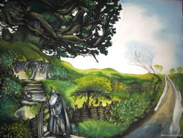 Gandalf comes to Hobbiton(replica with guest cats) by WormholePaintings