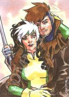 Commission - Rogue and Gambit by Celestial4ever