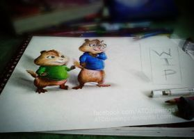Alvin And The Chipmunks (3d Drawing ) by ATCdrawings