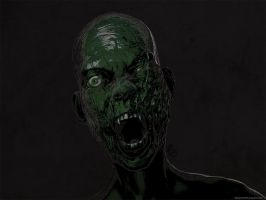 Scary green zombie portrait by mindschnapps