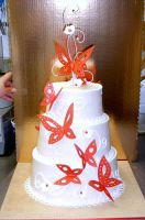 Red Butterfly Wedding Cake by The-EvIl-Plankton