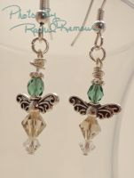 Green and Smokey Crystal Angel Earrings 66 by TheSortedBead