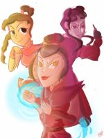 Azula, Mai and Ty lee by Giant-cheeseburger