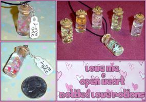 Love Potion Bottled Charms by YellerCrakka
