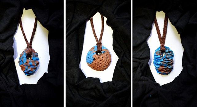 colous of the earth clay necklaces by queenofexecutions