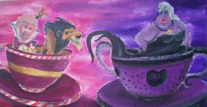King Candy, Scar and Ursula in Tea Cup by billywallwork525