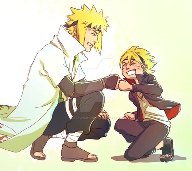 Minato and his grandson, Boruto by ForeverMedhok