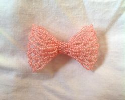 Small Pink Bead Ribbon Pin by pinkythepink