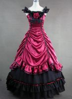 Red and Black Satin Gothic Victorian Gown by jdoris009