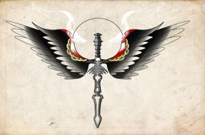 Winged Dagger Tattoo Painting by davepinsker