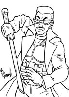 Blade Sketch Card BW by ibroussardart