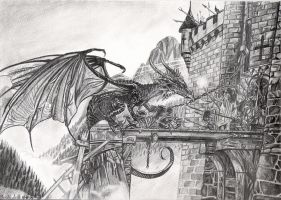 Dragon on the drawbridge by Smithy9