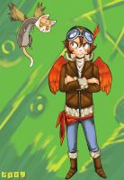 Parrot Boy and KittyFerretHawk by Miragey