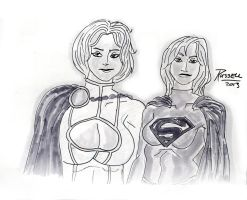 Power Girl and Supergirl by fmvra1s