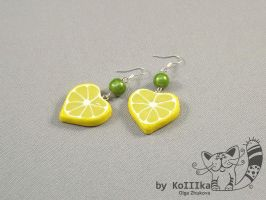 earrings Lemons by polyflowers