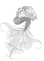 Mermaid line drawing by JoceGurr